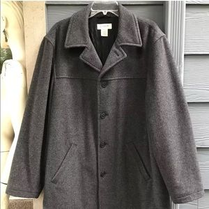 J Crew Men Pea Coat Jacket Sz M Gray Wool Lined